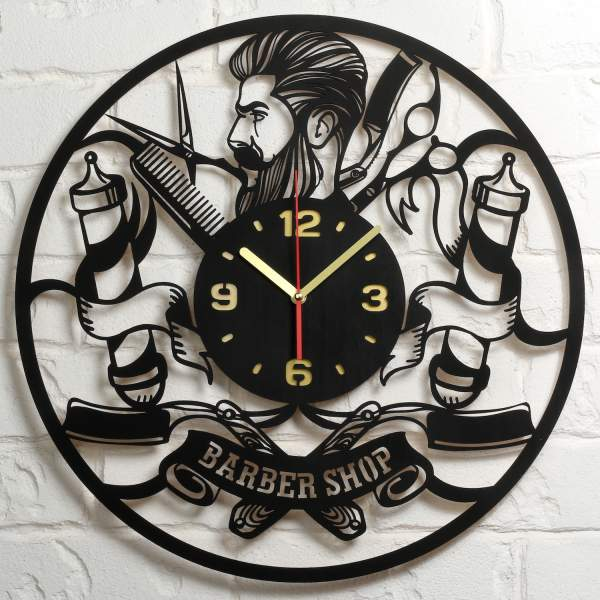 Large Barbershop Wooden Decor Wall Clock 19 7 Inch Black