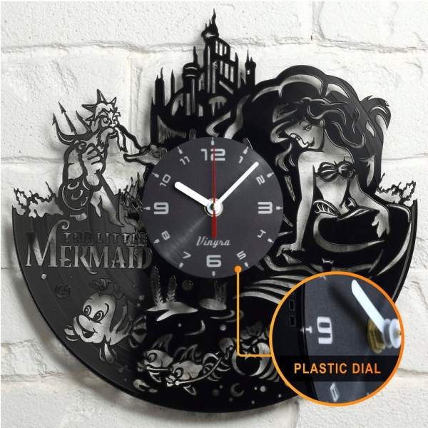 little mermaid vinyl clock