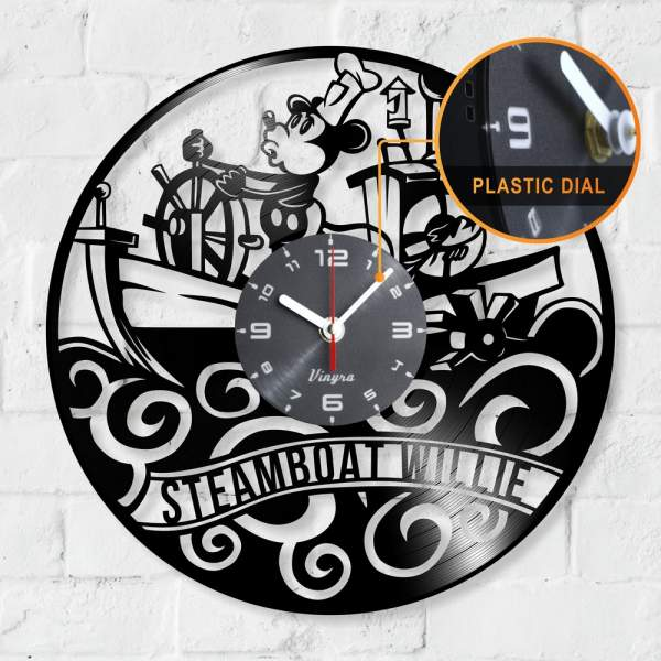 Steamboat Willie vinyl record gift clock