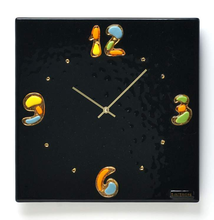 Unique wall clock with gold from murano glass Gustav Complimento