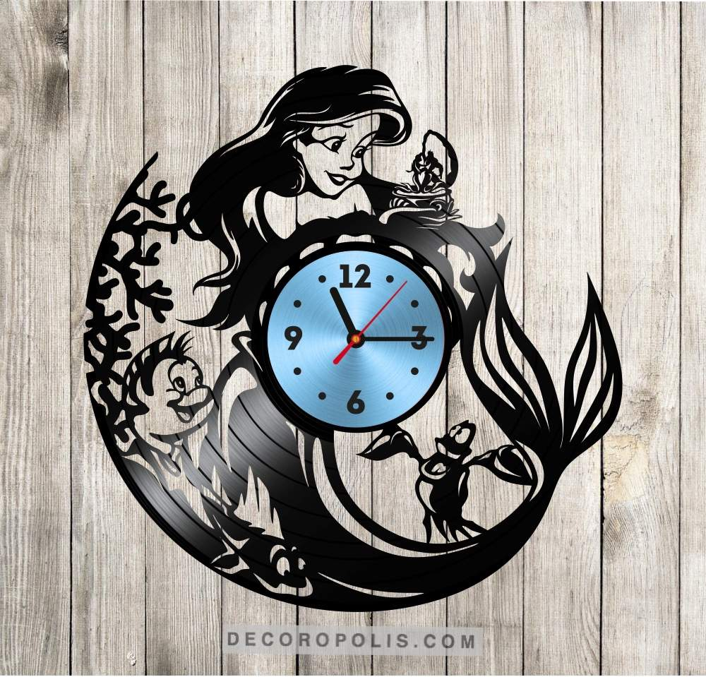 The little mermaid vinyl record wall clock for girls decoropolis wall clock for girls view the full image amipublicfo Choice Image